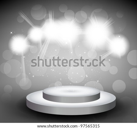 Grey background with round stage and light - stock vector