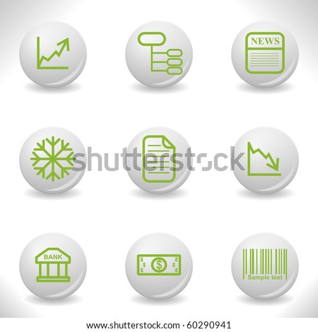 Grey balls with green icon and shadow (set 29). - stock vector