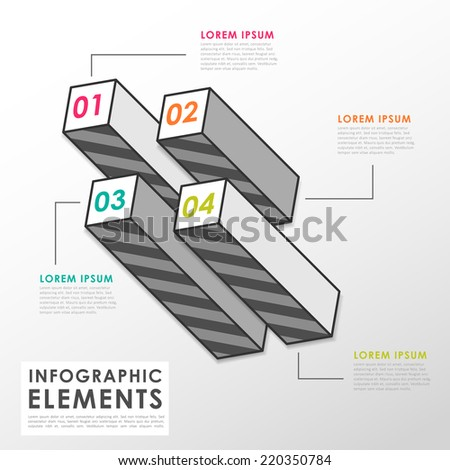 grey bar chart infographic elements template in flat style
