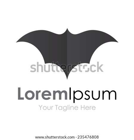 Grey batman bat open wings flying concept elements icon logo - stock vector