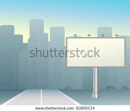 grey big board in the morning city - stock vector