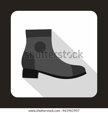 Grey boot with heel icon in flat style on a baby whute background