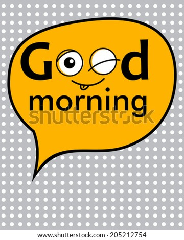 grey cartoon smile poster - stock vector