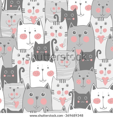Grey cats seamless pattern - stock vector