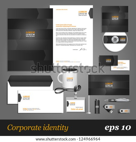 Grey corporate identity template with arrows. Vector company style for brandbook and guideline. EPS 10 - stock vector