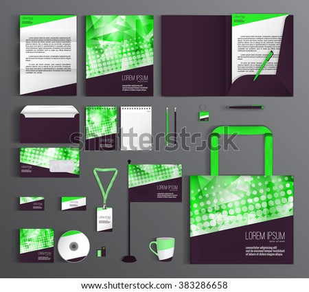 Grey corporate identity template with color elements. Vector company style for brandbook and guideline