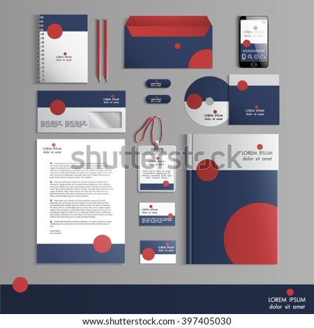 Grey corporate identity template with red round elements. Vector company  style for brandbook and guideline. EPS 10 - stock vector
