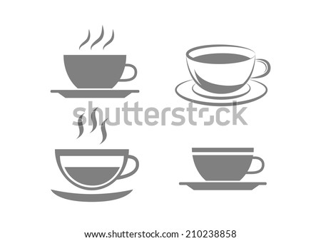 Grey cup icons on white background - stock vector