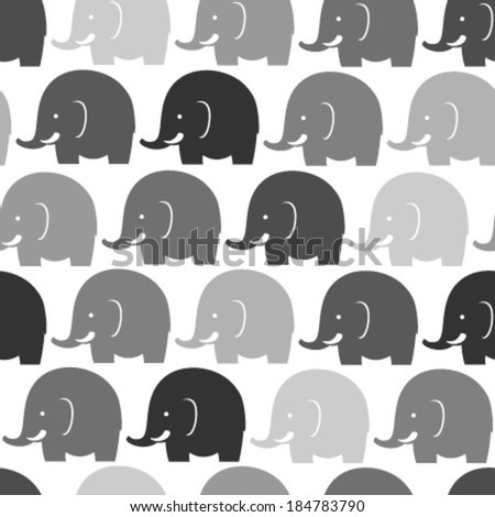 grey elephants on white seamless pattern - stock vector