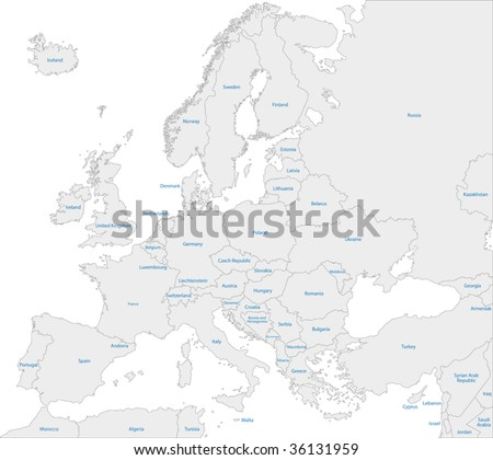 Grey Europe map with countries - stock vector