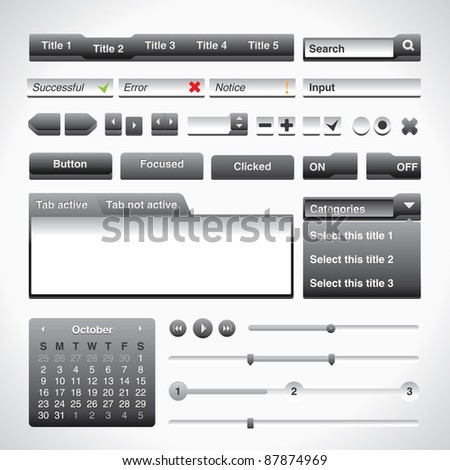 Grey Extruded User Interface Set - stock vector