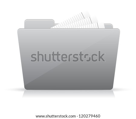 Grey file folder icon - stock vector