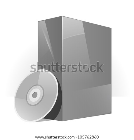 Grey Glossy Package Box With DVD Or CD Disk