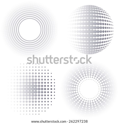 Grey gradient vector circle halftone design elements collection - stock vector