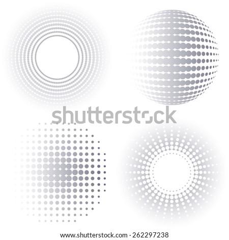 Grey gradient vector circle halftone design elements collection - stock vector
