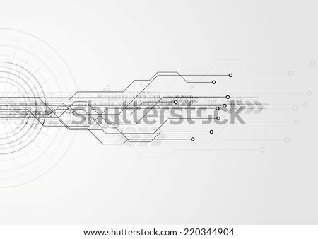 Grey hi-tech circuit board background. Vector design - stock vector
