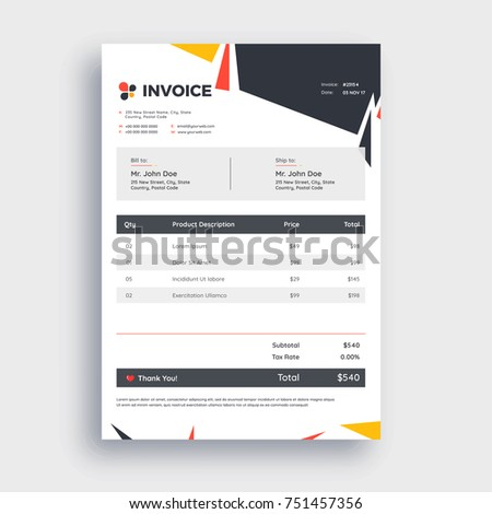 Grey Invoice Template Design Your Business Stock Vector 2018