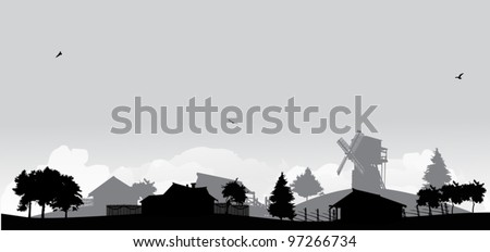 grey landscape with trees and village - stock vector