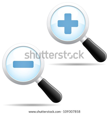 Grey magnifier body with blue zoom in and out symbols. - stock vector