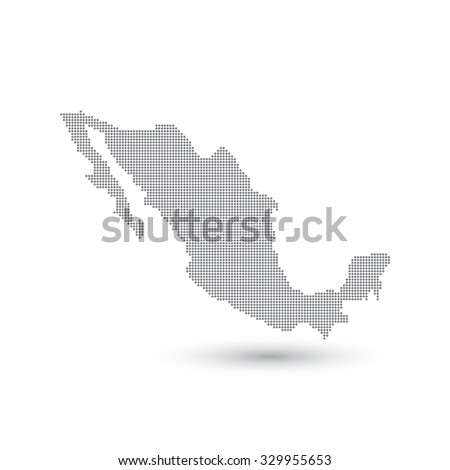 Grey Map Mexico In The Dot Vector Ilration