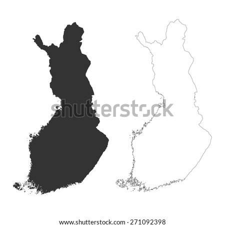 grey map of finland with line