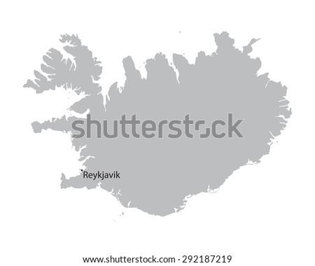 Grey map iceland indication reykjavik stock photo photo vector grey map of iceland with indication of reykjavik gumiabroncs Choice Image