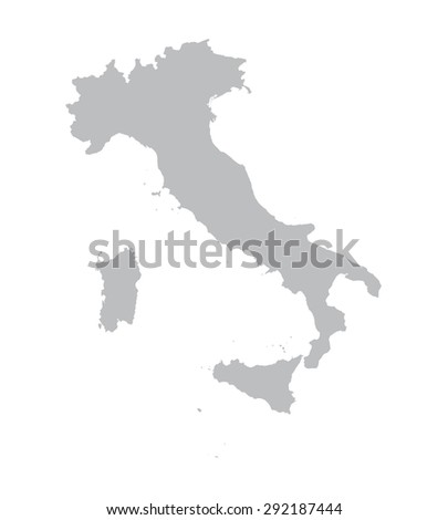grey map of Italy - stock vector