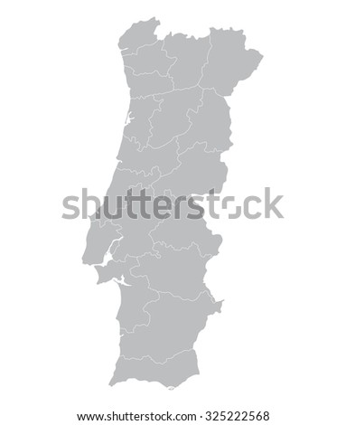 grey map of Portugal (districts on separate layers) - stock vector