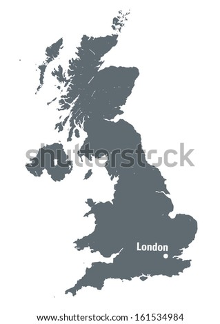 grey map of United Kingdom with indication of the capital city- London - stock vector
