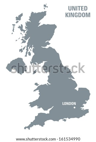 grey map of United Kingdom with indication of the location of Lo - stock vector