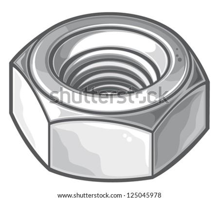 grey nut (metal nut, screw nut, mechanical nut) - stock vector