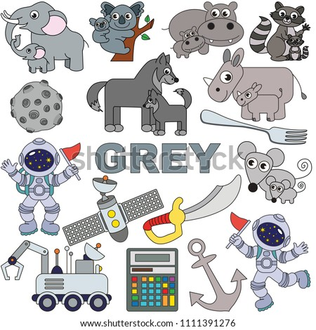 Grey Objects Color Elements Set Collection Stock Vector (Royalty ...