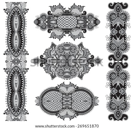 grey original hand draw line art ornate flower design. Ukrainian traditional style, black and white collection - stock vector