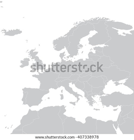 Grey Political Map Of Europe. Vector Illustration