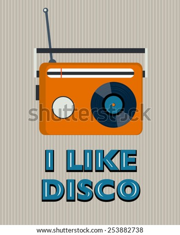 grey retro disco poster with radio - stock vector