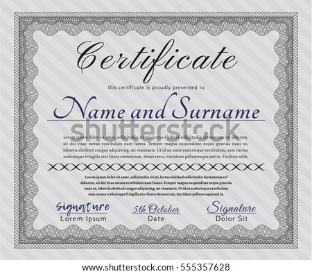 Grey Sample Certificate. With background. Elegant design. Vector illustration.