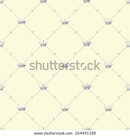 Grey seamless pattern with crown symbol on beige, 10eps. - stock vector