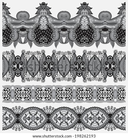 grey set of seamless ornamental floral stripes, black and white collection