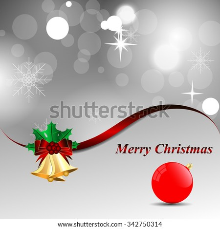 Grey shiny Christmas background with bells and a red ribbon and ball  - stock vector