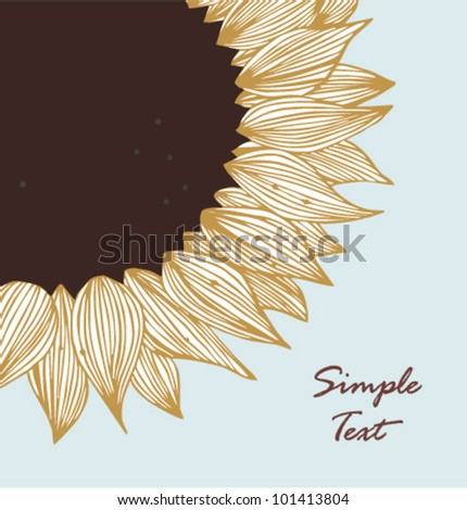 Grey sunflower text banner. Background for holidays, arts, crafts, cards, scrapbooks, setting table