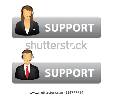 Grey support buttons - stock vector