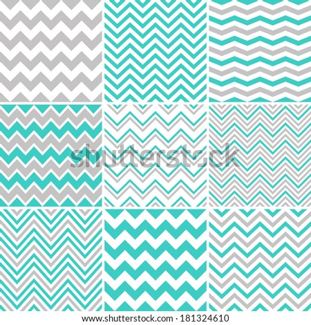Grey & turquoise chevron seamless patterns - stock vector