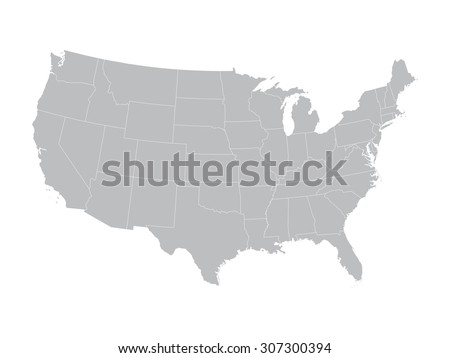 grey vector map of United States with state borders - stock vector