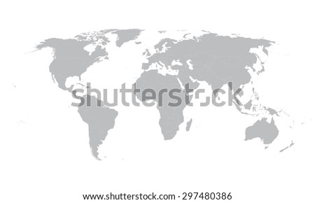 Grey vector world map borders all stock vector 297480386 shutterstock grey vector world map with borders of all countries gumiabroncs Choice Image