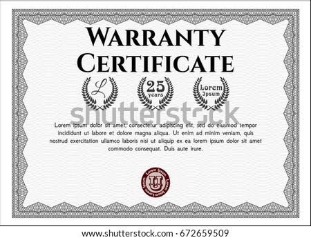 Grey Vintage Warranty Certificate Template. Money Pattern. With Guilloche  Pattern. Detailed.  Money Certificate Template