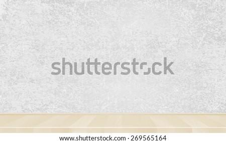 Grey wall, light wooden parquet, floor. Background. Vector - stock vector