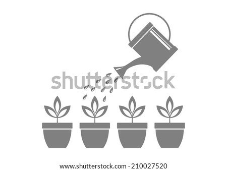 Grey watering can and plants on white background  - stock vector