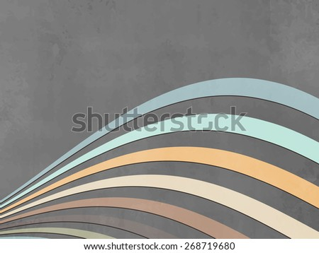 Grey wave background with soft colored curves - abstract retro lines - stock vector