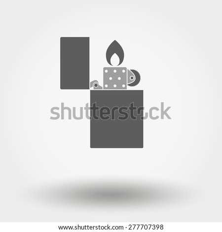 Grey web icon Cigar Lighter. Vector illustration on a white background. Flat design style. - stock vector