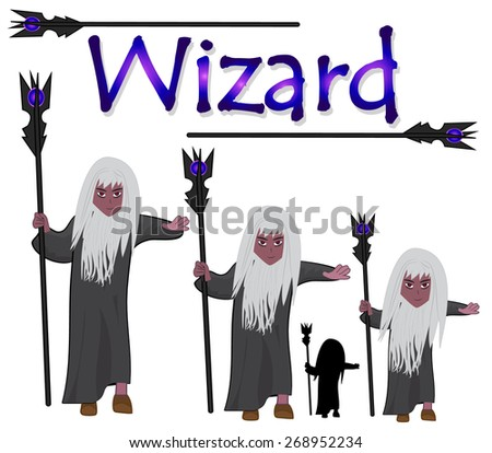 Grey Wizard with staff isolated on white background- Vector character design, In three age and silhouette - stock vector